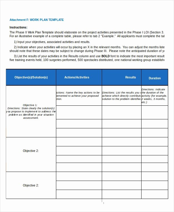 Sample Work Plan Template Fresh 15 Project Plan Templates