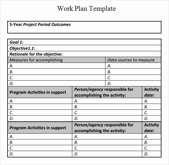Sample Work Plan Template Fresh Best S Of Sample Work Plan Outline Sample Work Plan