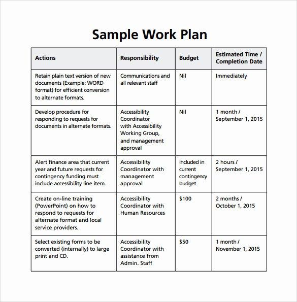 Sample Work Plan Template Lovely 23 Sample Work Plan Templates In Google Docs