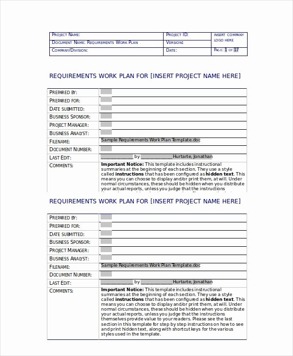 Sample Work Plan Template Lovely Work Plan Template 11 Free Pdf Word Documents Download