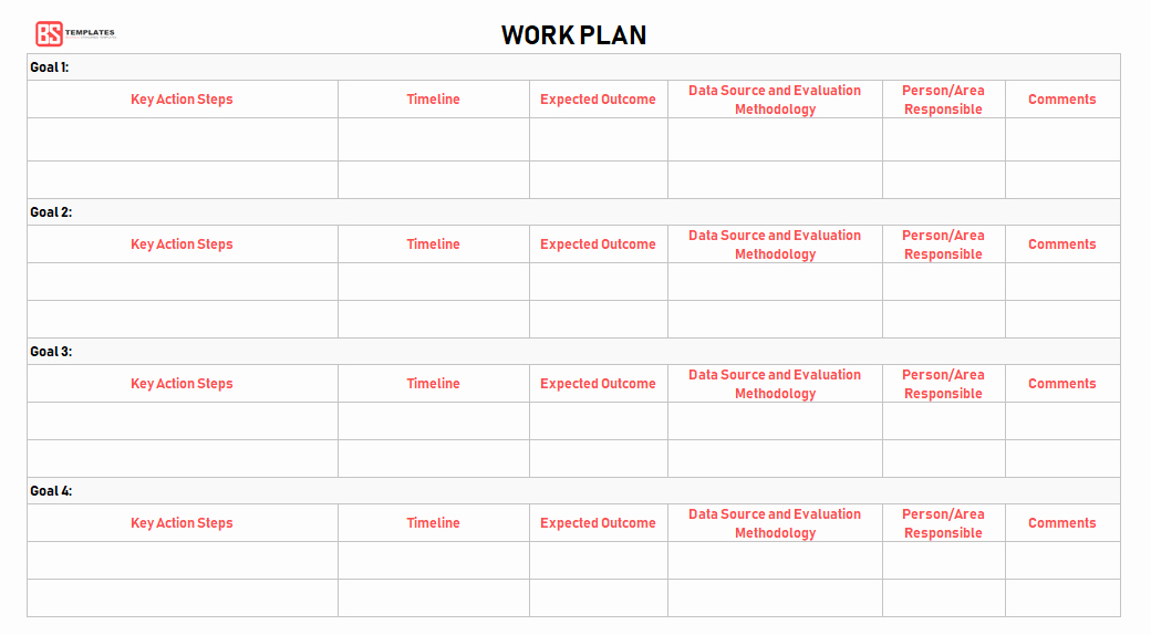 Sample Work Plan Template Unique Work Plan [ Templates Samples