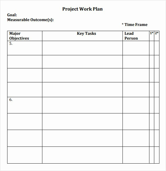Sample Work Plan Template Unique Work Plans Samples
