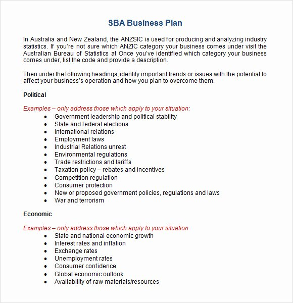 Sba Business Plan Template Elegant Sample Sba Business Plan Template 9 Free Documents In