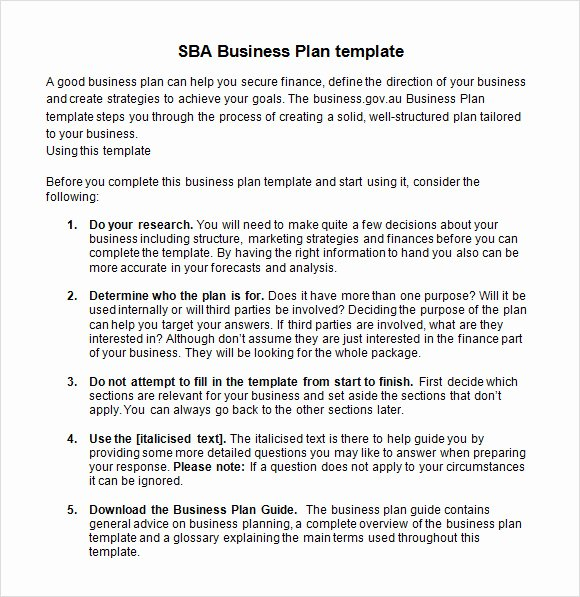 Sba Business Plan Template Fresh Sample Sba Business Plan Template 9 Free Documents In
