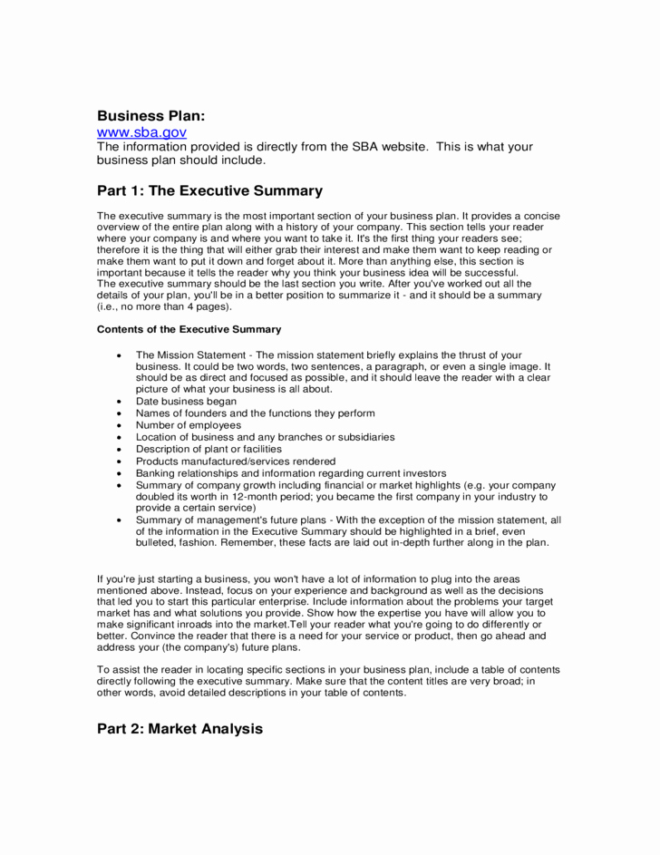 Sba Business Plan Template Fresh Sba Business Plan Template