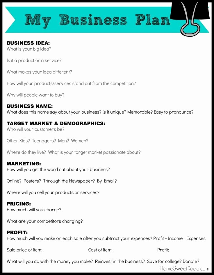 Sba Business Plan Template Inspirational Business Plan Worksheet for Students