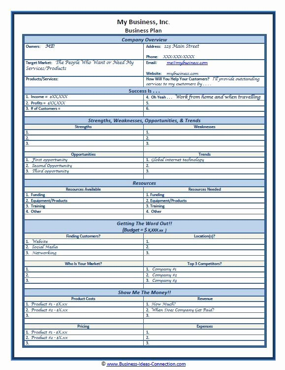 Sba Business Plan Template New Sample E Page Business Plan Template Self Employment