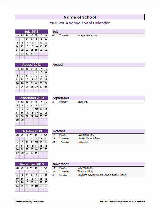 Schedule Of events Template Awesome School Calendar Template 2019 2020 School Year Calendar