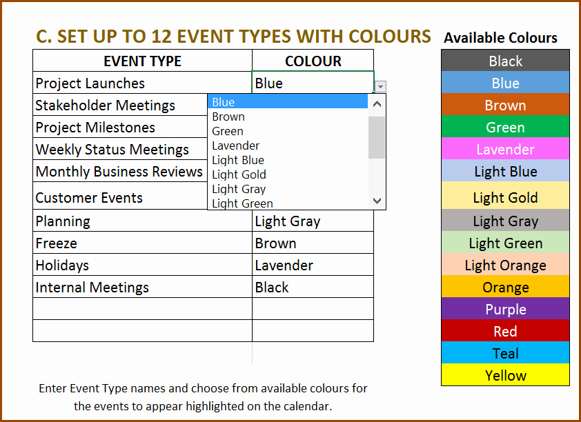 Schedule Of events Template Beautiful Excel Calendar Template Excel Calendar 2019 2020 or Any