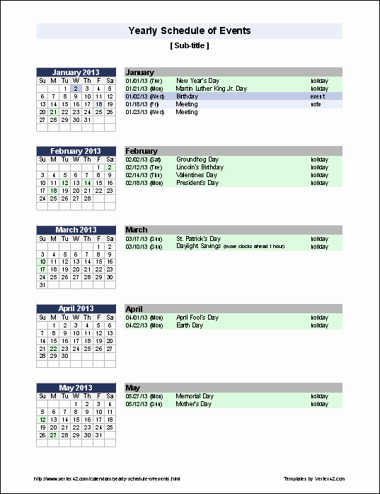 Schedule Of events Template Elegant Excel Templates