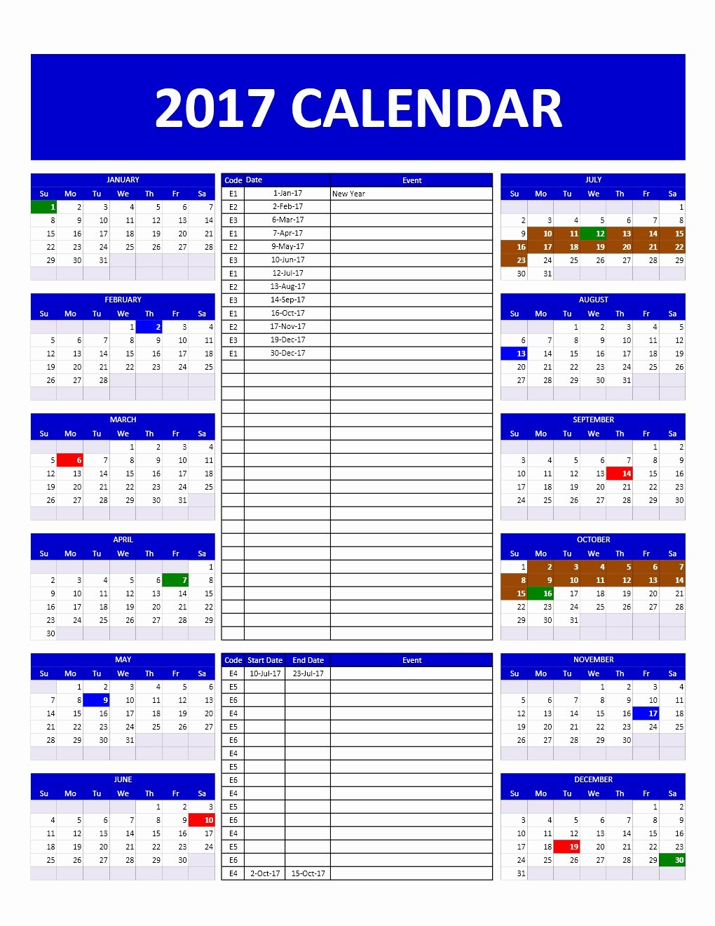 Schedule Of events Template Fresh 2017 and 2018 Calendars