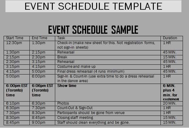 Schedule Of events Template Fresh event Schedule Templates Word Excel Samples