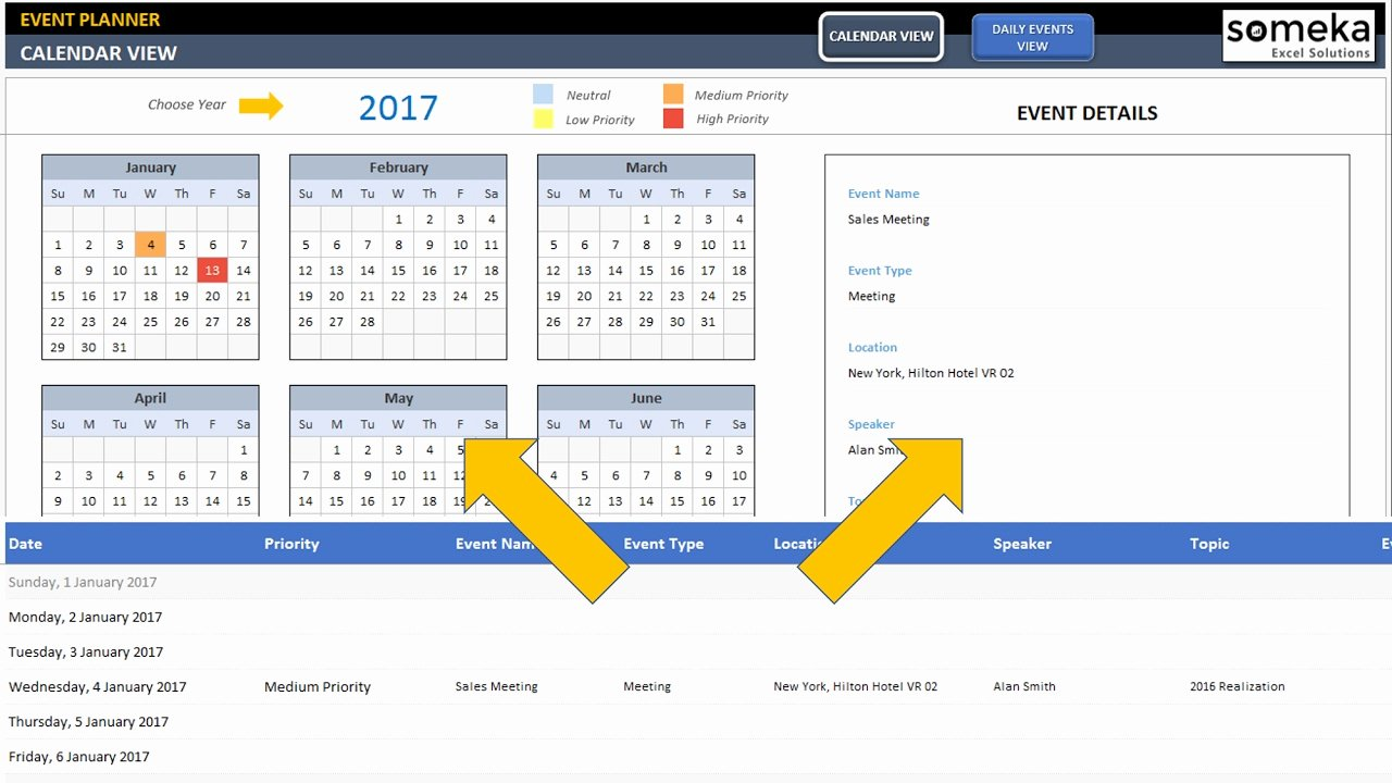 Schedule Of events Template Luxury Dynamic event Calendar Excel Template