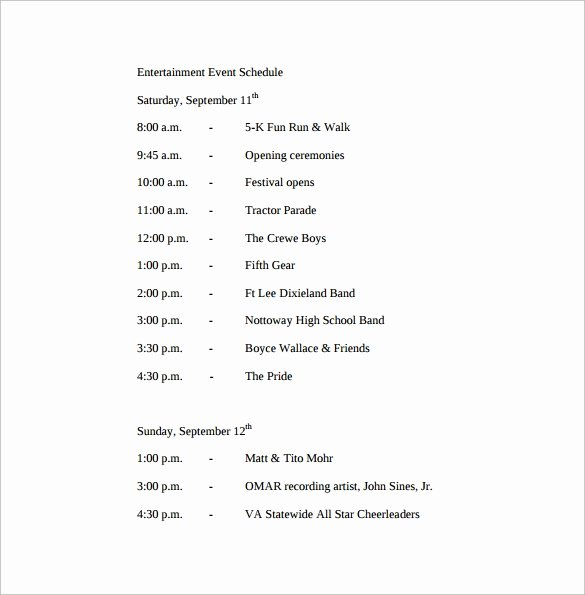 Schedule Of events Template Luxury Sample event Schedule Template 18 Free Documents In