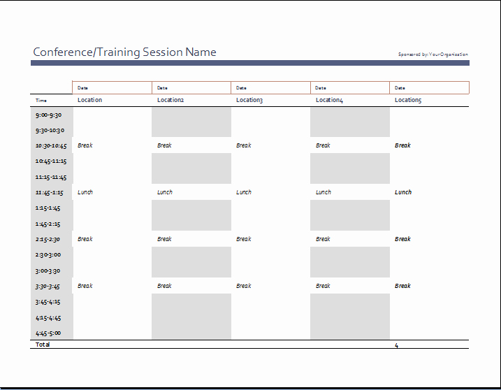 Schedule Of events Template New Business event Schedule Template