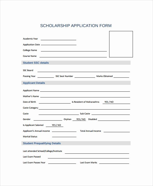 Scholarship Application Template Word Best Of Sample Scholarship form 8 Documents In Pdf Word