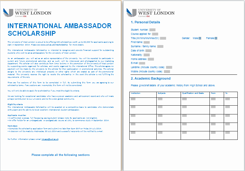 Scholarship Application Template Word Elegant Ms Word formal Scholarship Application form Template