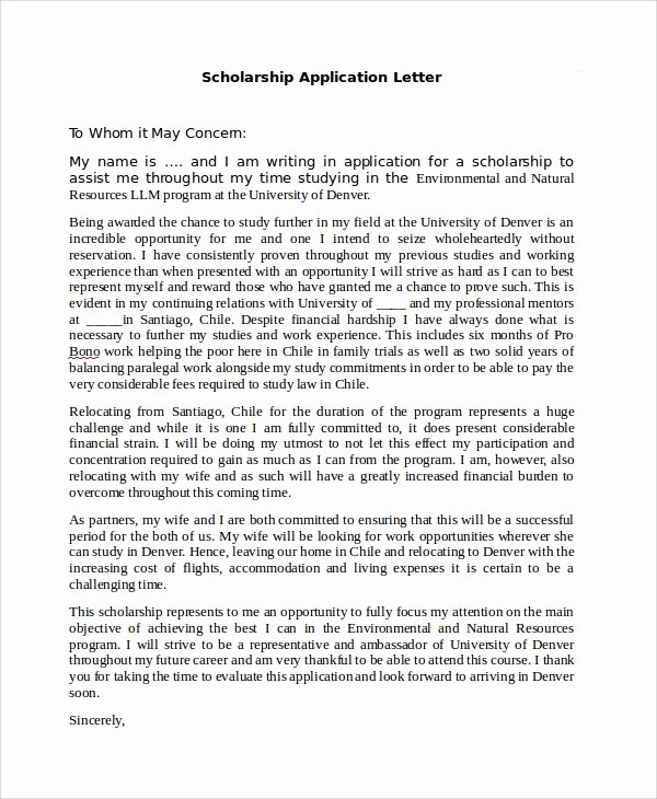 Scholarship Application Template Word Elegant Sample Application Letter 18 Examples In Pdf Word