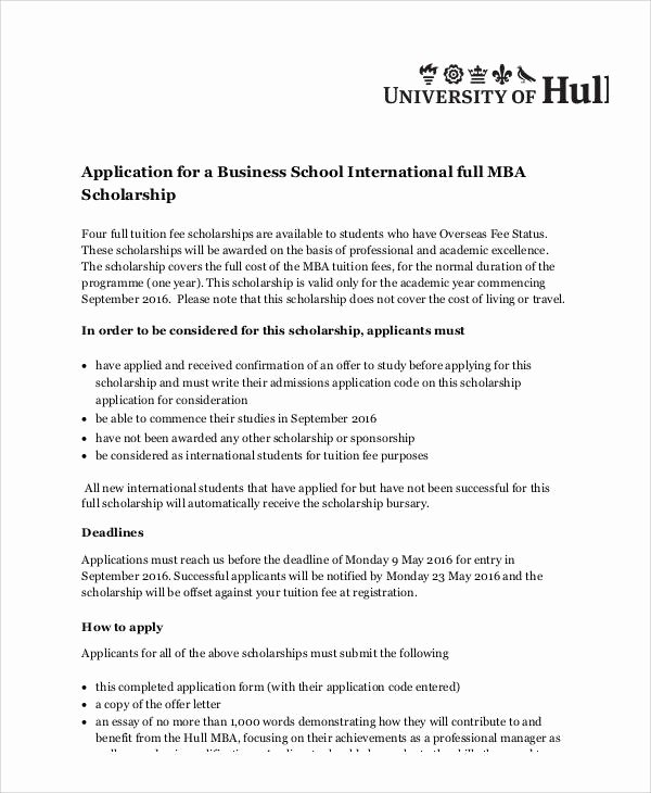 Scholarship Application Template Word Inspirational Sample Scholarship Application Essay 6 Examples In Word