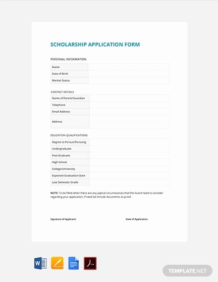 Scholarship Application Template Word New 133 Free form Templates Pdf Word Excel