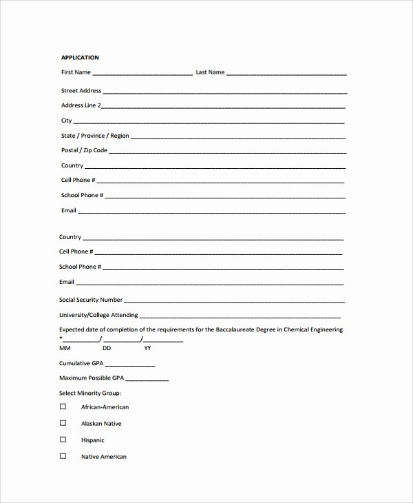 Scholarship Application Template Word New Sample Scholarship Application form 7 Documents In Pdf