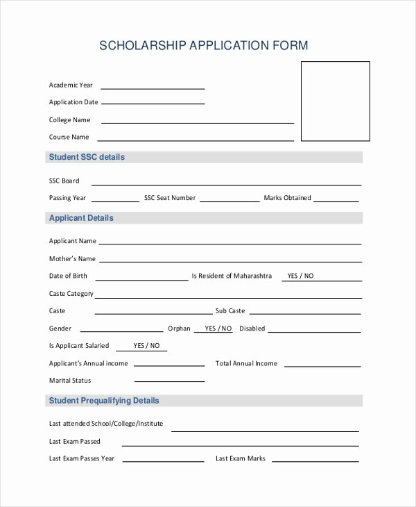 Scholarship Application Template Word Unique Free 20 Sample Application forms In Pdf