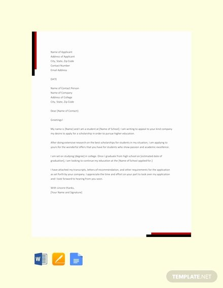 Scholarship Application Template Word Unique Free Scholarship Application Letter Template Pdf