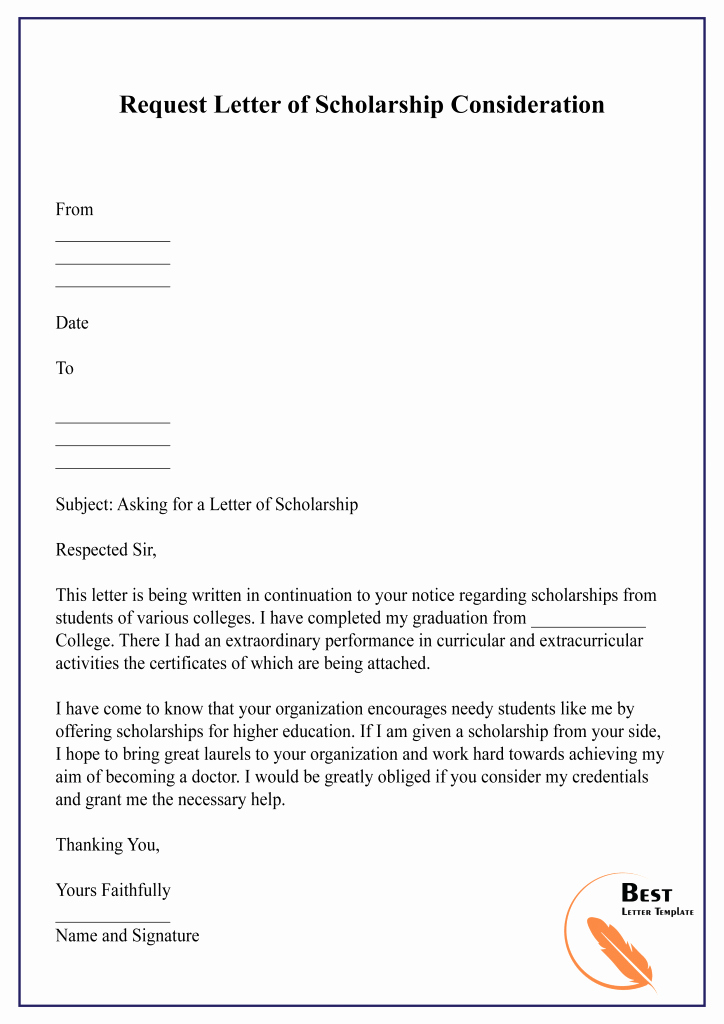 Scholarship Application Template Word Unique Sample Request Letter Template for Scholarship Pdf & Word