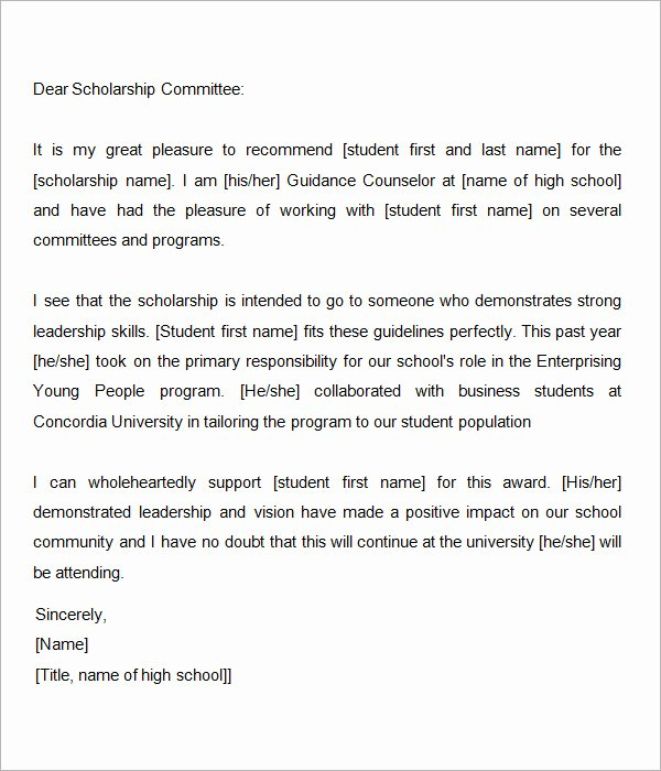 Scholarship Letter Of Recommendation Template Awesome Sample Letter Of Re Mendation for Scholarship 10 Free