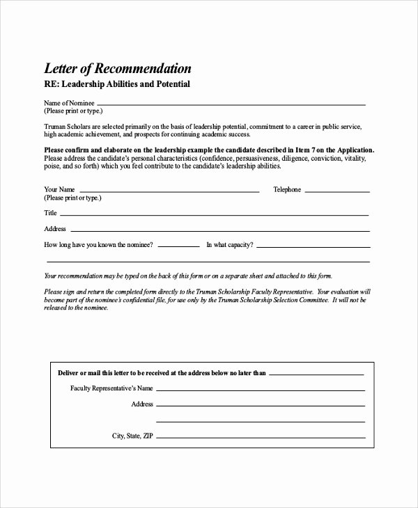 Scholarship Letter Of Recommendation Template Fresh Free 32 Sample Letters Of Re Mendation for Scholarship