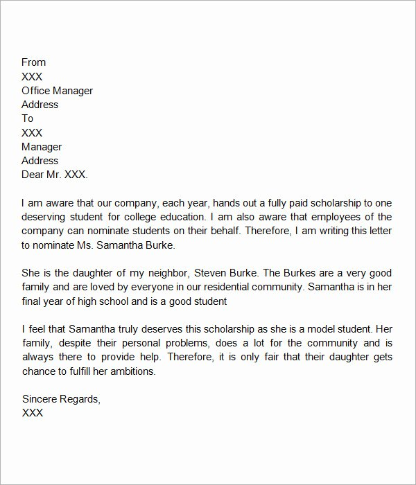 Scholarship Letter Of Recommendation Template Inspirational Free 32 Sample Letters Of Re Mendation for Scholarship