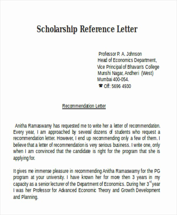 Scholarship Letter Of Recommendation Template Inspirational Scholarship Reference Letter Templates 5 Free Word Pdf