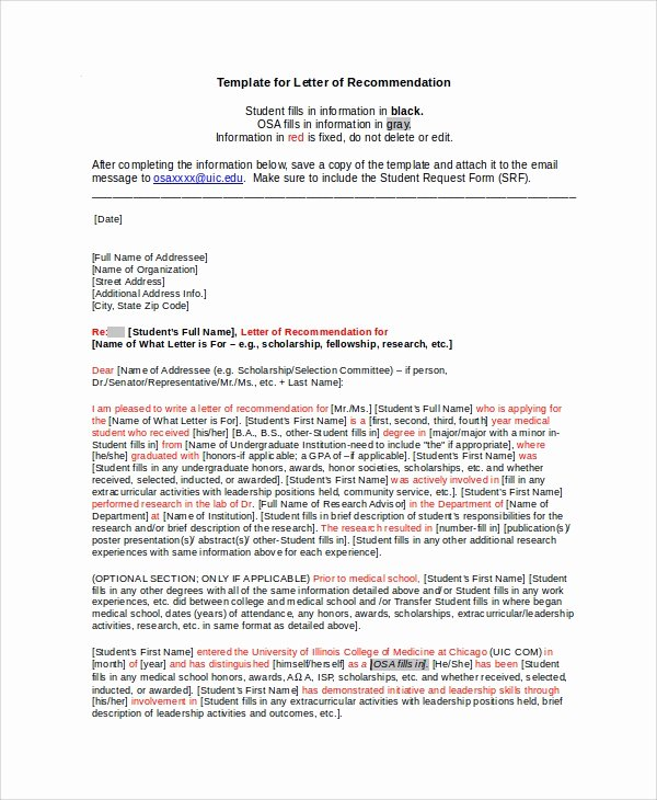 Scholarship Letter Of Recommendation Template New Sample Scholarship Re Mendation Letter 7 Examples In