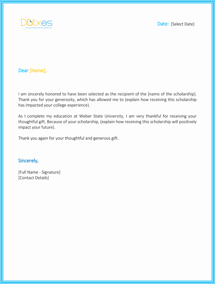 Scholarship Thank You Letter Template Awesome Scholarship Thank You Letter 7 Sample Templates You