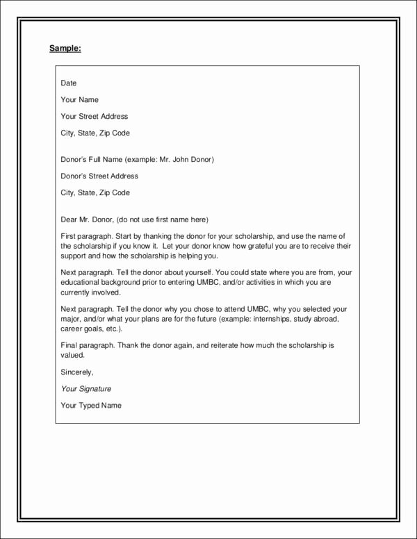 Scholarship Thank You Letter Template Awesome Writing College Scholarship Thank You Letters