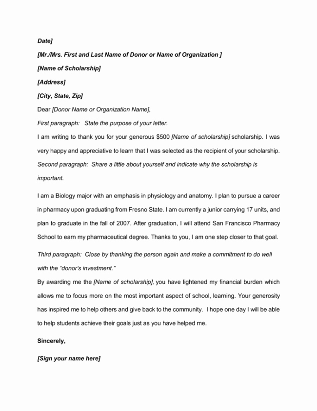 Scholarship Thank You Letter Template Beautiful 9 Best Scholarship Thank You Letter Samples & Examples