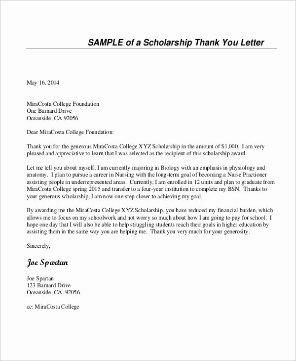 Scholarship Thank You Letter Template Beautiful Sample Thank You Letter for Scholarship 7 Examples In