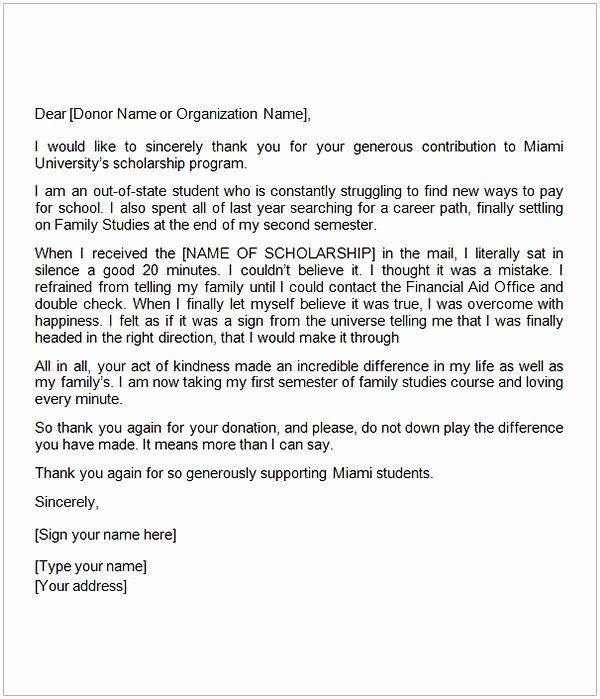 Scholarship Thank You Letter Template Best Of Thank You Letter for Scholarship Sample