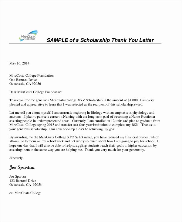 Scholarship Thank You Letter Template Elegant 38 Thank You Letters
