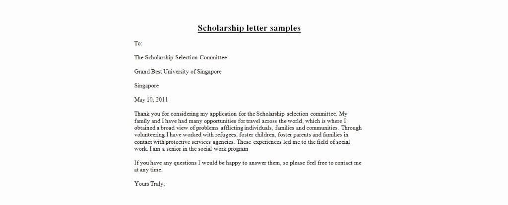 Scholarship Thank You Letter Template Elegant Application Letter format Scholarship Letter