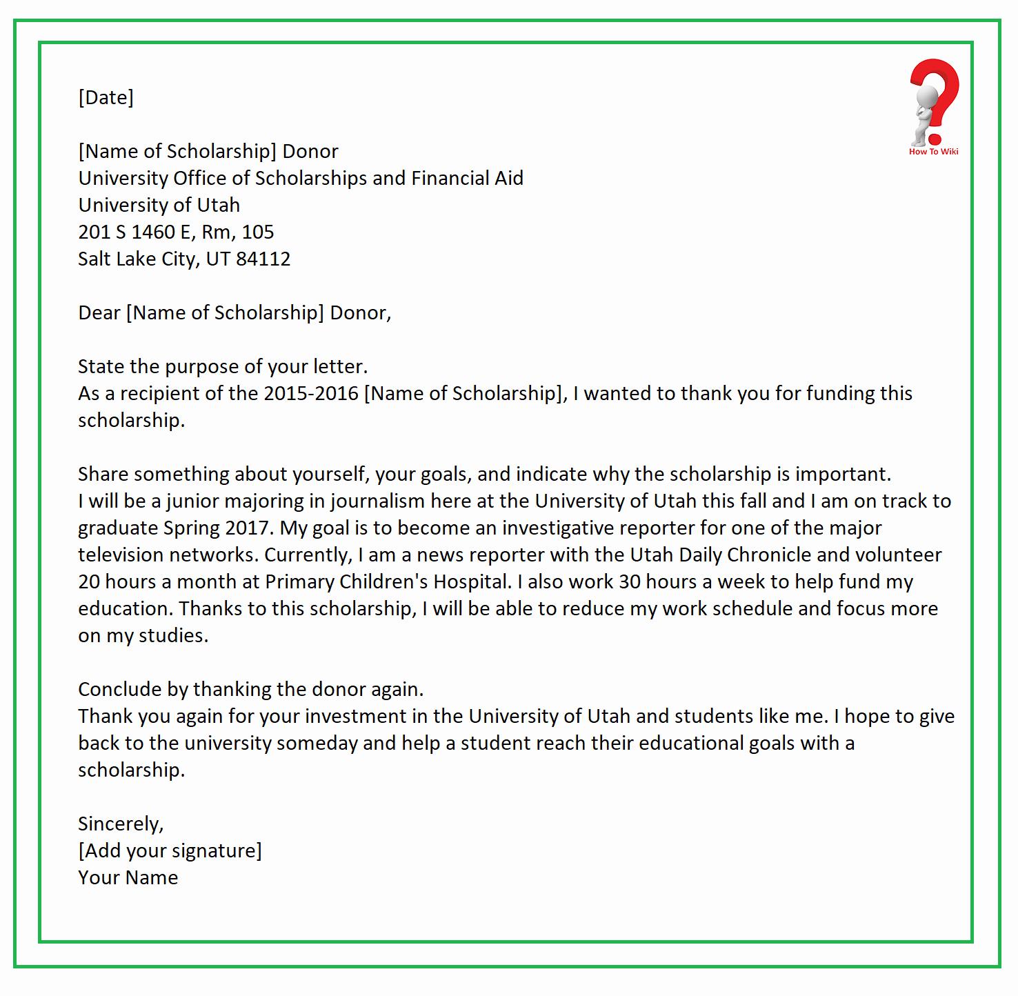 Scholarship Thank You Letter Template Elegant How to Write Thank You Letter for Scholarship