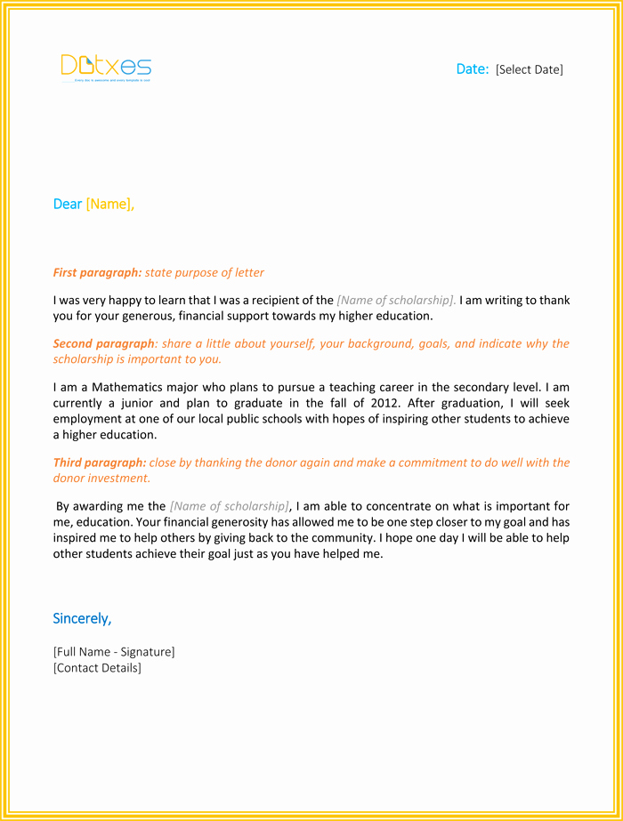Scholarship Thank You Letter Template Fresh Scholarship Thank You Letter 7 Sample Templates You