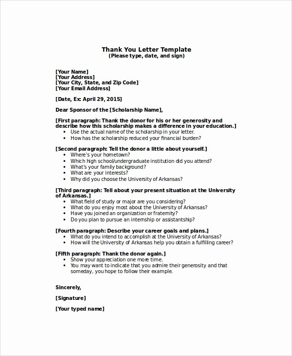 Scholarship Thank You Letter Template Inspirational Sample Thank You Letter for Scholarship 7 Examples In