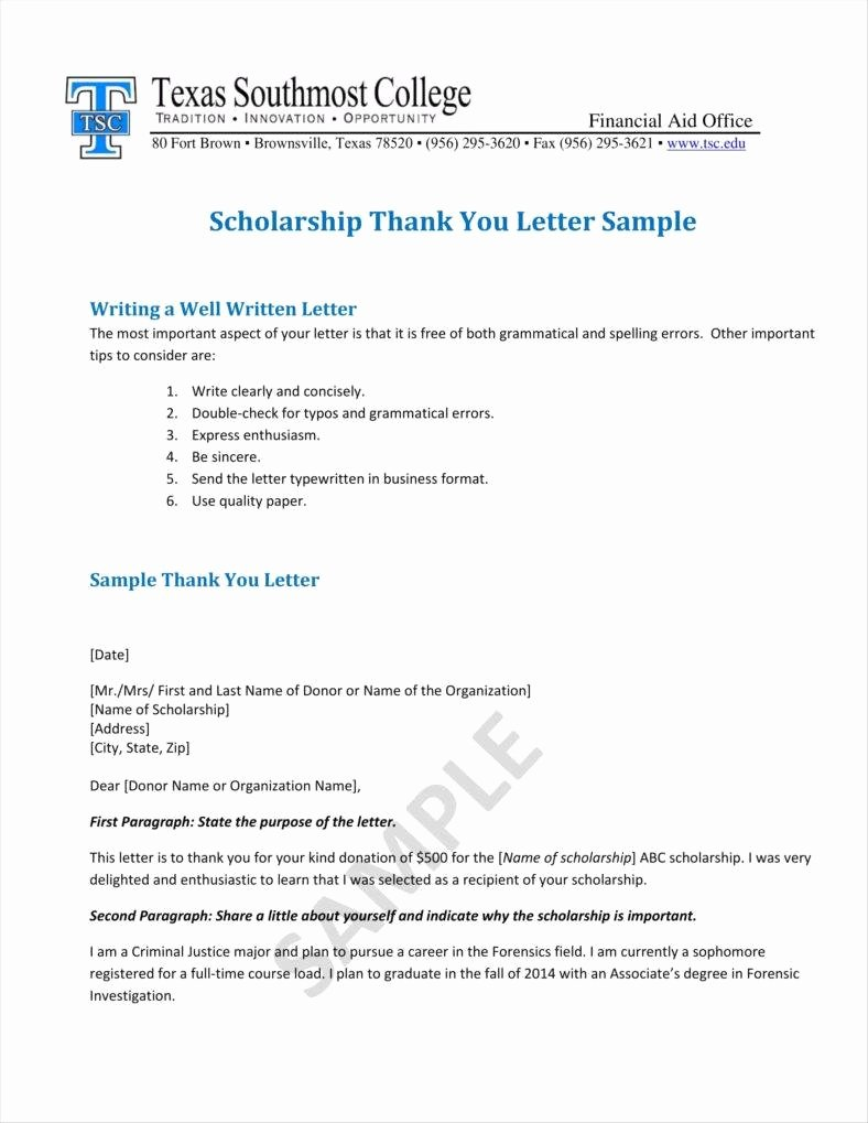 Scholarship Thank You Letter Template Lovely 9 Donation Acknowledgment Letter Templates Free Word Pdf