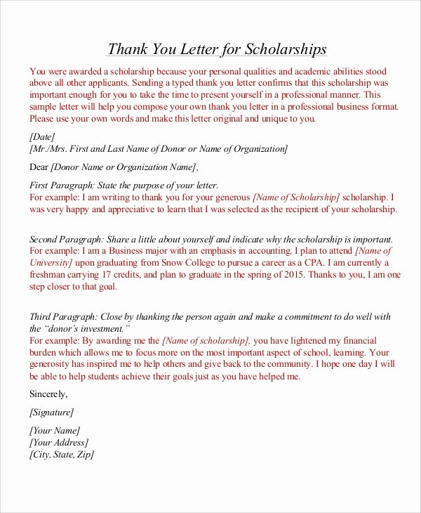 Scholarship Thank You Letter Template New Sample Thank You Letter for Scholarship 7 Examples In