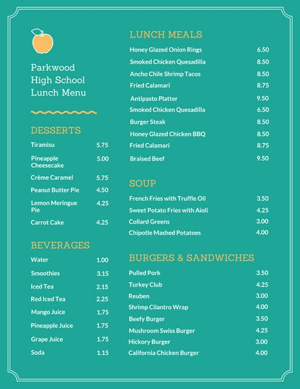 School Lunch Menu Template Awesome Customize 215 Lunch Menu Templates Online Canva