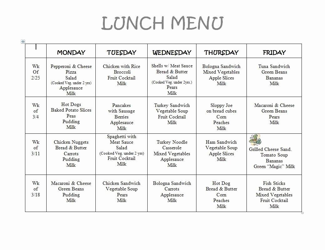 School Lunch Menu Template Best Of Free Daycare Menus to Print