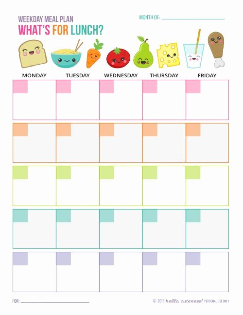 School Lunch Menu Template Best Of Free Printable Weekday Lunch Plan Sheet Great for