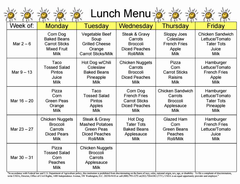 School Lunch Menu Template Best Of Lunch Menu Sunshine Elementary School