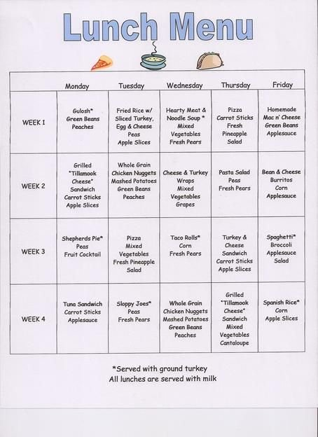 School Lunch Menu Template Best Of Preschool Snack Menu Ideas
